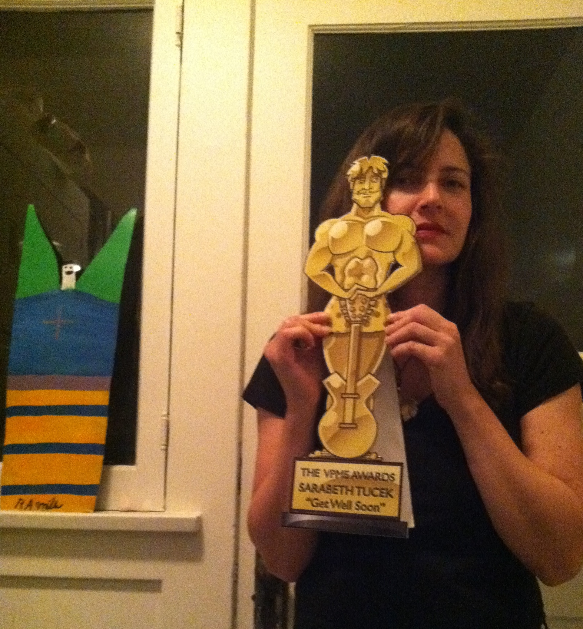 Sarabeth Tucek With Her Magnificent Album Of The Year Trophy - The Von Pip Musical Express